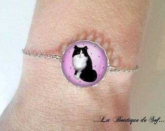 Bracelet fine silver with cabochon 18 mm * wax * (050218)