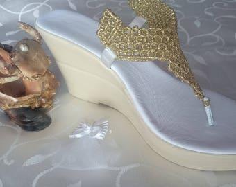 Women's Shoes, Golden Clogs, Wedding Sandals, Handmade Customizable Shoes, Macrame Sandals, Comfortable shoes, Model: Britney
