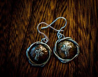 Copper and silver cross earrings