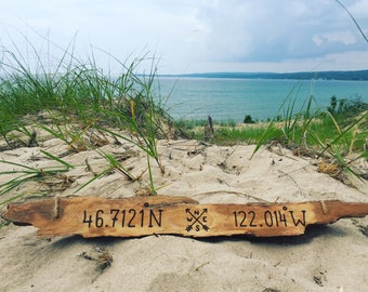Longitude Latitude Driftwood Sign Housewarming Gift, Custom GPS coordinates lake house wood decor new beach home couple wedding anniversary