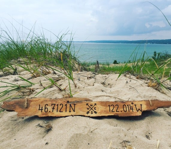 Longitude Latitude Driftwood Sign