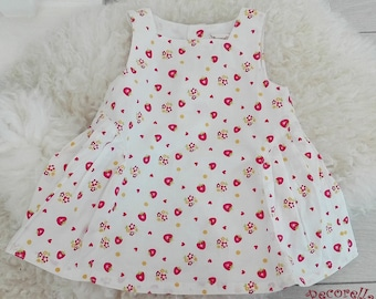 Baby girl summer dress in white with strawberry print