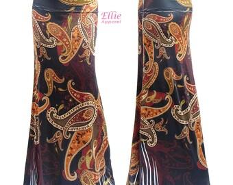 Paisley Black Boho Sublimation Comfortable Maxi Long Skirt Sizes Small/Medium/Large/X-large/1XL/2XL/3XL