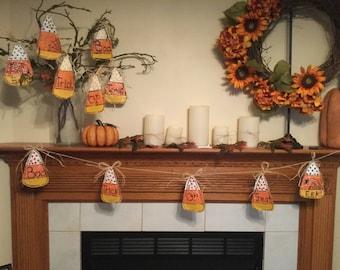 Halloween Burlap  Banner Ornaments Candy Corn