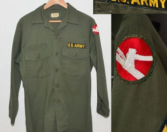 Vintage WWII Era 1940s Army Button Down Shirt 84th Infantry Division Private E-2 Shirt | WW2 US Army Shirt Lincoln Division