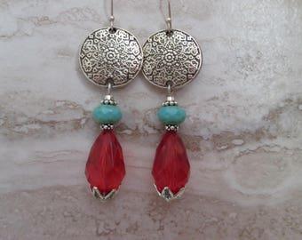 Mandala earrings, red faceted teardrops, green turquoise rondelle, bohemian, gypsy long earrings