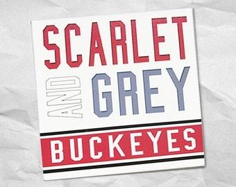 Scarlet and Grey Buckeye canvas wall art   Ohio State Buckeyes 8 x 8 canvas wall art   Unique handmade Buckeye gift   Handmade in Ohio