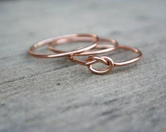 Rose Gold Filled Love Knot Ring Set Stacking Bridesmaid Proposal Gift For Her 14 Karat Pink Gold Friendship Ring Best Friends Ring BFF Ring