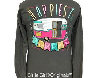 Girlie Girl Originals Happiest Camper Long Sleeve Charcoal T-Shirt