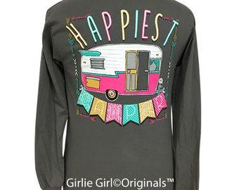 Girlie Girl Originals Happiest Camper Long Sleeve Charcoal T-Shirt