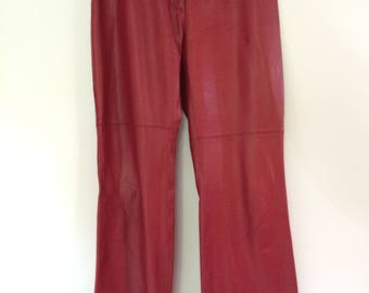Vintage 80s leather trousers red pants by MK Emkay - wide leg size medium