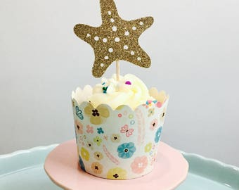 12ct Starfish glitter cupcake toppers, sea animal cupcake toppers, Ocean cupcake toppers