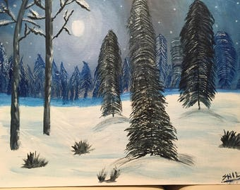 A Snowy Night - Canvas Painting