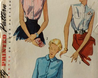 Simplicity 3092 misses blouses size 12 bust 30 vintage 1940's sewing pattern