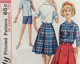 Simplicity 5395 misses wrap-around skirt, blouse & shorts size 14 bust 34 waist 26 vintage 1960's sewing pattern