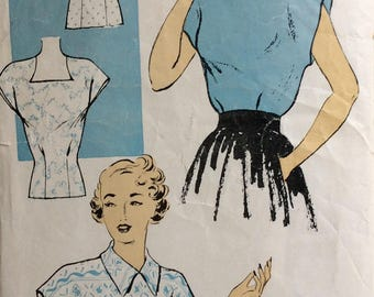New York 492 misses blouse size 18 bust 36 vintage 1940's sewing pattern