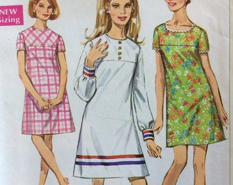 Simplicity 7716 misses A-line dress size 14 bust 36 vintage 1960's sewing pattern