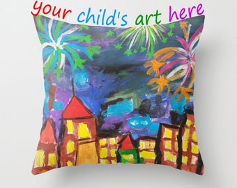 Your child's art work, childs art on printed throw pillow cover , your child's drawing, Mother's Day,personalized your childs art gift