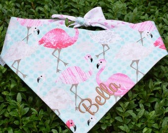 Personalized Flamingo Dog Bandana || Reversible Classic Tie Pet Scarf || Personalized Puppy Gift || Three Spoiled Dog