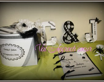 Set for wedding box, guestbook and pen and letter Monogram