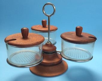 Vintage Danish Modern Luthje Teak Wood Denmark Chrome Lazy Susan Condiment Set