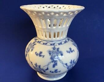 Skye McGhie Blue Rose Brocade Porcelain Lace Centerpiece Vase