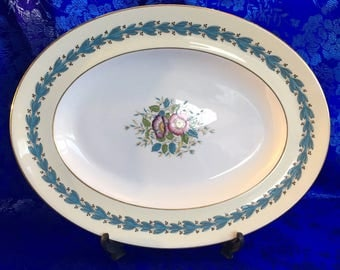 "Large 14"" Oval Serving Platter Wedgwood Yellow Floral Appledore China England MINT"
