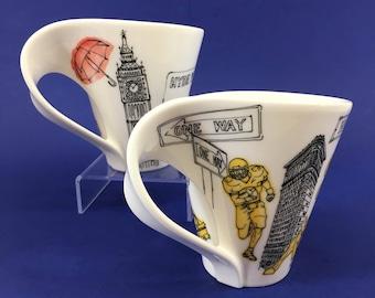 2 Vintage Boch SA Fereres Belguim Porcelian London, New York Coffee Tea Mugs