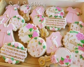 Floral stork baby shower cookies/baby/flowers/storks (18 cookies)