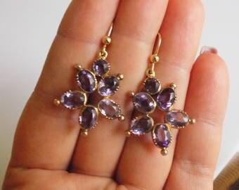 Victorian 18CT Gold Amethyst drop earrings
