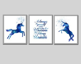 Blue Unicorn Nursery Printable Boys Nursery Room decor Boys Room Decor Printable Set of 3 images