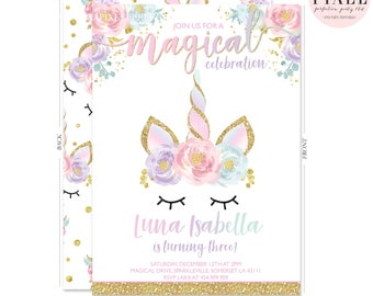 Unicorn Birthday Invitation Etsy