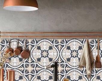 Tile Decals - Tiles for Kitchen/Bathroom Back splash - Floor decals - Hand Painted Firenze Tile Sticker Pack color Rose Charcoal