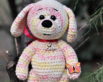 Crochet big belly dog puppy. Light melange white pink yellow  stuffed dog.