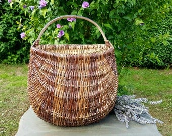 Rustic Antique French Panier-Rare Artisanal Handcrafted Deep Gathering Basket-Stunning Vintage French Kitchenalia piece-for use or Display!