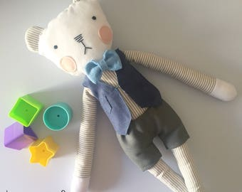 Teddy bear Jimmi, stuffed bear, stuffed plush, stuffed teddy bear, stuffed doll, plush, plushes, Christmas present, Christmas gift