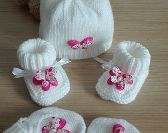 bonnet mittens shoes 0/3 months baby