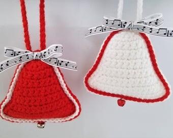 Crochet Christmas Bell Ornaments