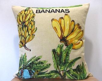 Bananas Cushion Cover Banana Leaf Australiana Plantation Tropical Hawaiian Decor Upcycled Tea Towel Queensland Gift Bali Style Housewarming