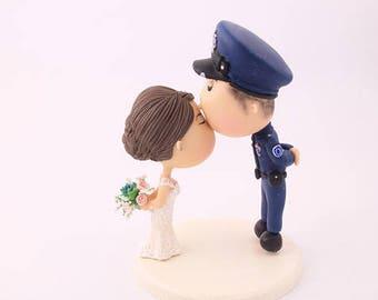 Custom Order. Wedding cake topper. Police Officer. Handmade. Fully customizable. Unique keepsake.
