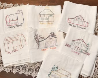 Embroidered Towels - Farm Theme