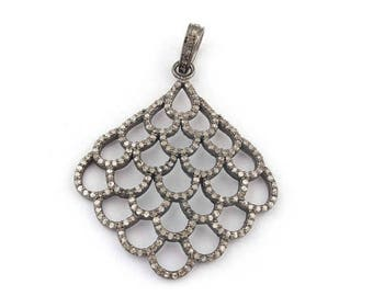 Valentine Day Sale 1 PC Beautiful  Pave Diamond Designer Pendant Over 925 Sterling Silver 43mmx35mm PD1288