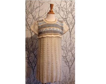 Hand knitted dress wool Virgin and kid-silk, size 4 years