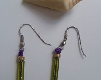 Earrings, glass, recycled jewelry