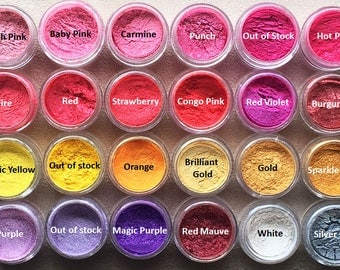 1/4 oz cosmetic mica in jars/Soap colorant/Nail art/Candle colorant/46 colors to choose from/Buy four get one FREE