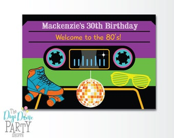 80's/Eighties Party Printable Backdrop A0 Size, Instant Download