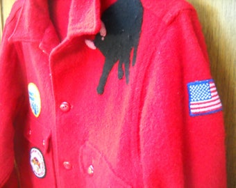 Red Wool Philmont Bull Boyscout jacket,  Boy Scouts of America official jacket, bakelite celuoid  buttons  Philmont Black Bull patch size 40