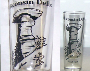 Wisconsin Souvenir, Wisconsin Dells Stand Rock, Tall Shot Glass, Collectible, Bar Glass - item 66B