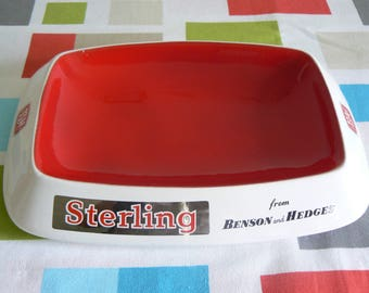 Rare and Fabulous Vintage Advertising Ashtray by Wade Regicor for Benson and Hedges Sterling Cigarettes.