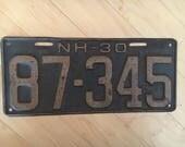 1930 NH New Hampshire License Plate